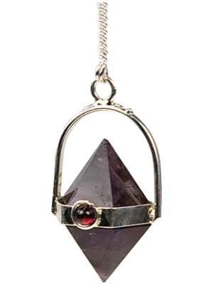 Pendule Damru - double pyramide d'Améthyste