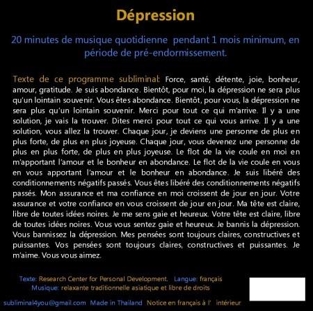 CD subliminal audion - Dépression - texte