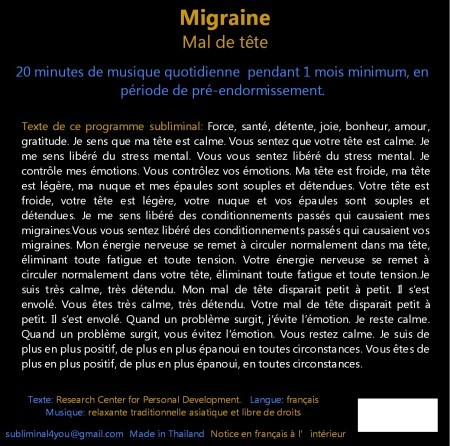 CD subliminal audio - Migraine - texte
