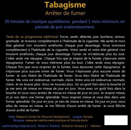 CD subliminal audio - Tabagisme texte
