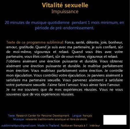 CD subliminal audio - Vitalité sexuelle - texte