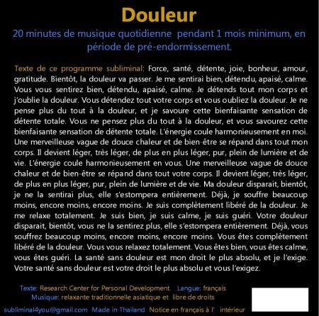 CD subliminal audio - Douleur - texte