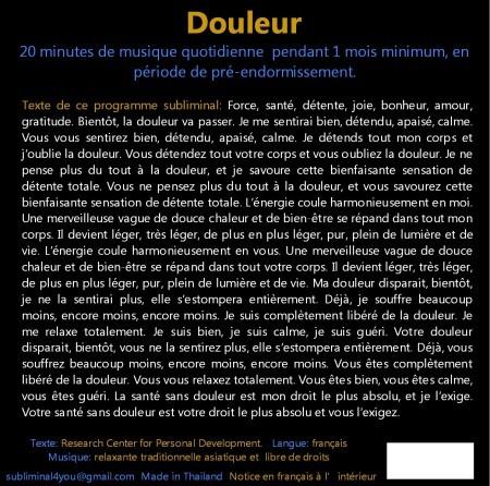 CD subliminal audio - Douleur - texte