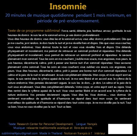 CD subliminal audio - Insomnie - texte