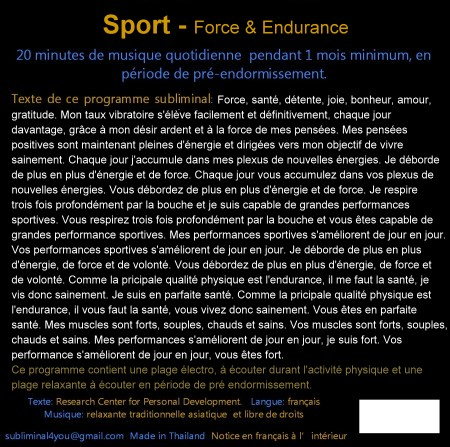 CD subliminal audio - Sport & Endurance - texte