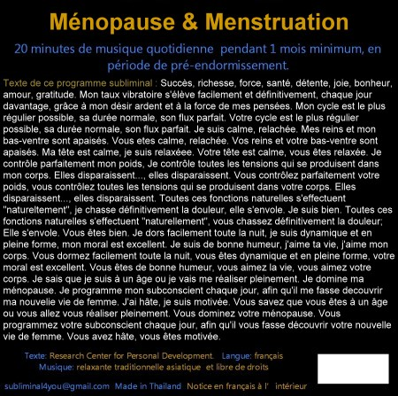 CD subliminal audio - Ménopause & Menstruation - texte