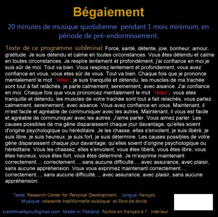 CD subliminal audio - Bégaiement - texte