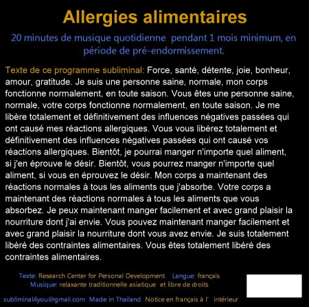 CD subliminal audio - Allergies alimentaires - texte