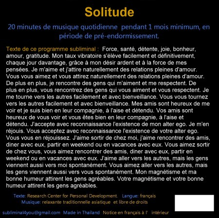 CD subliminal audio - Solitude - texte