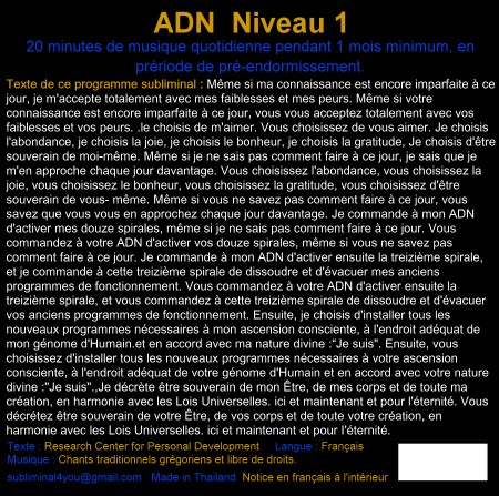 CD subliminal audio - Niveau 1 - texte