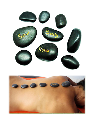 9 pierres chaudes de massage - galets de basalte - illustration 2