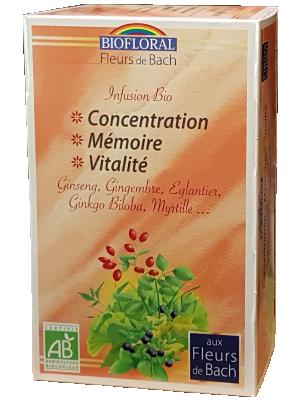 Infusion Bio aux Fleurs de Bach - Concentration, Mémoire, Vitalité