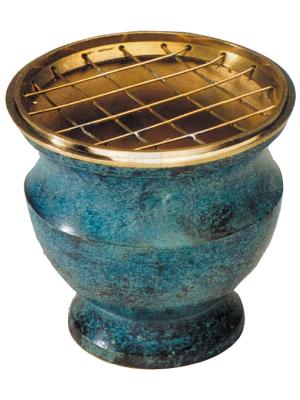 Brûle encens en laiton et émail bleu avec grille