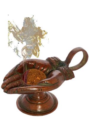 Brûle encens mains en laiton - finition cuivre - illustration 2