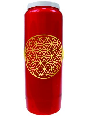 Bougie végétale Neuvaine rouge avec Fleur de Vie