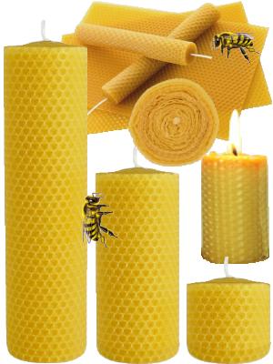 Bougie à la cire d'abeille - diamètre 4.5 cm