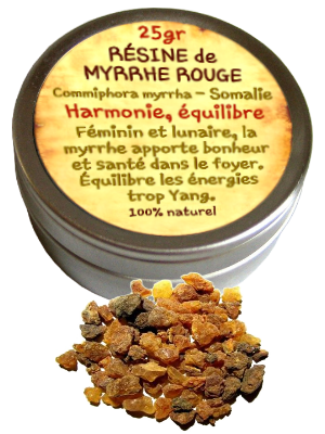 Encens résine de Myrrhe rouge - Bt de 25 gr